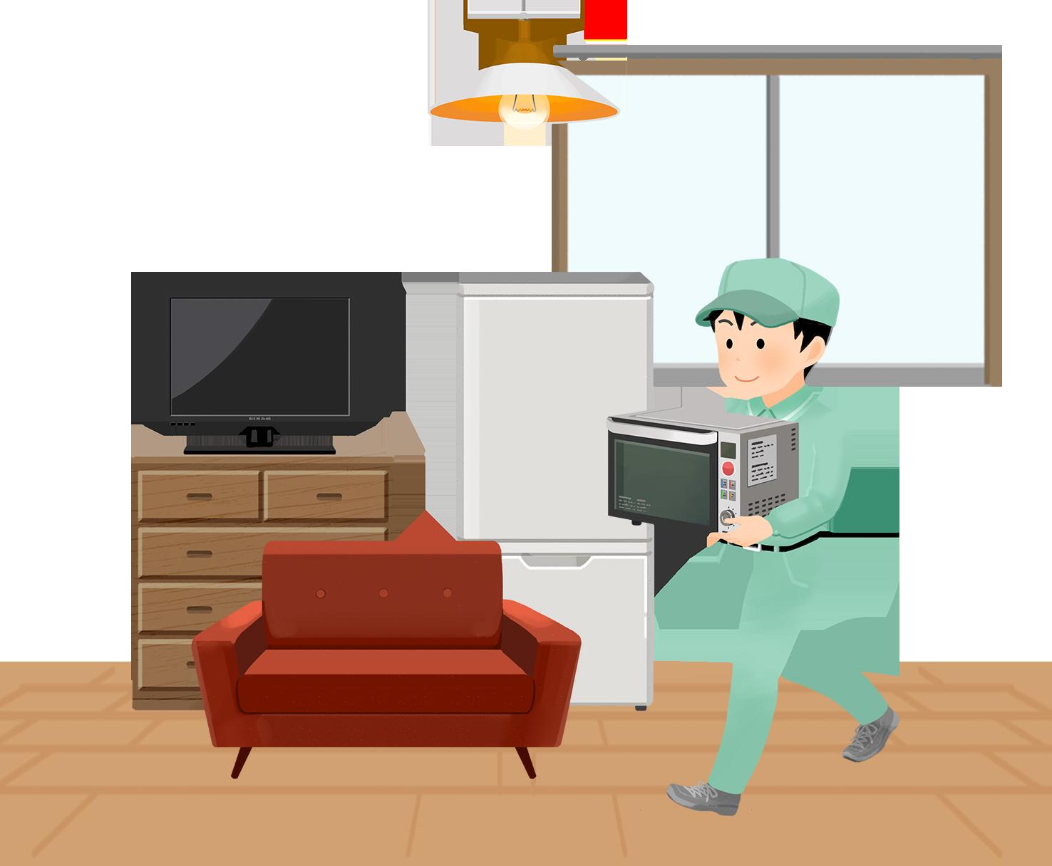 3614家の中の家電を運ぶ不用品回収業者スタッフ(男性)